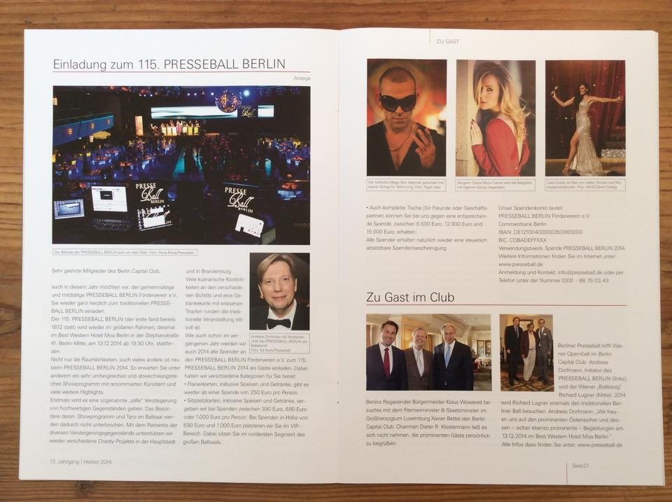Adamski – Future Waltz featured in  the magazine of the famous Berlin Capital Club